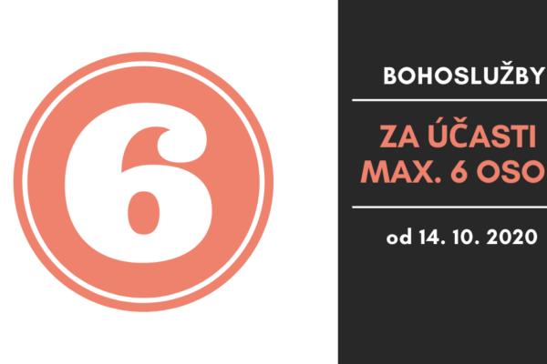 Bohoslužby od 14. října za účasti max. 6 osob